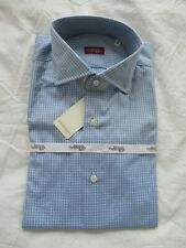 Sartoria Partenopea Light Blue check Luxury hand stitched Italian shirt