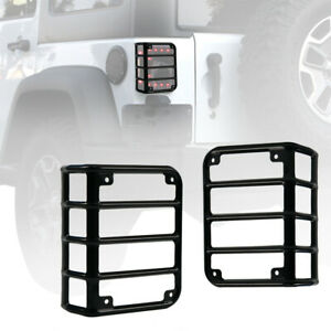 For 07-18 Jeep Wrangler JK Iron Metal Black Rear Tail Light Guards Covers (Pair)