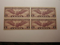 U.S. SCOTT #C12 5 Cent Airmail Violet Winged Globe 1930 Block of 4 VLH on One...