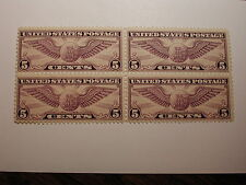 U.S. SCOTT #C12 5 Cent Airmail Violet Winged Globe 1930 Block of 4 VLH on One…