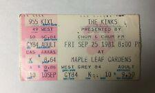 THE KINKS - SEPTEMBER 25, 1981 TORONTO MAPLE LEAF GARDENS - CONCERT TICKET STUB