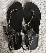 Warehouse Brown  Thong Leather Sandals / Size 6 39 Summer Stock Up!