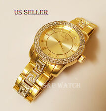 Mens Elegant Gold Tone Bling Iced Out Elgin Round Dress Analog Metal Band Watch