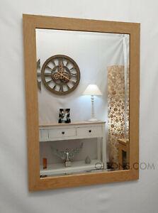 Natural Oak Finish Wood Frame Wall Mirror Rectangular Bevelled Glass 106x76cm