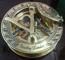 Vinatage Decorative 3 Inches Brass Working Sundial Compass - Marine Collectible