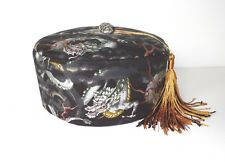 Dragon Smoking Cap with Tassel Japanese Cotton Black with Gold Detail