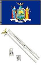2x3 2'x3' State of New York Flag White Pole Kit Set