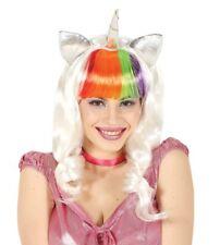 Rainbow Long White Curly Wig Unicorn Horn Fancy Dress Little Pony Adult Womens