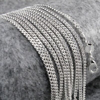 15PCS Wholesale Silver Plated 2.0mm  Flat Chain Necklace 16-30 inch
