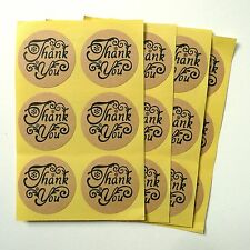 48x Cursive Floral Kraft Thank You Round Stickers 35mm
