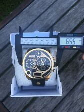 Mens Diesel Watch, Mr. Daddy Analog, Gold And Black Case, Black Leather Band