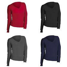 Hip Length Cotton Blend V Neck Jumpers & Cardigans for Women