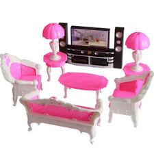 6pcs Barbie Dollhouse Möbel Set Sofa Couch Stuhl Sessel + TV Schrank