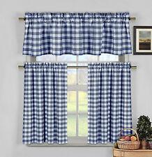 Navy Blue & White Cotton Blend Gingham Tartan Country Plaid Kitchen Curtain Set