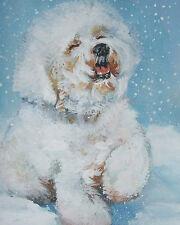 "Bichon Frise CANVAS PRINT of LAShepard painting dog art LSHEP 8x10"""