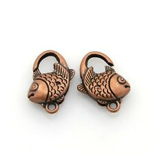 2 Clasps Jewelry Clasps Antiqued COPPER BIG Clasps Lobster Parrot Clasps Fish