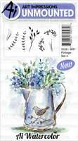 Art Impressions Watercolor Cling Rubber Stamps Foliage Set 4 750810795756