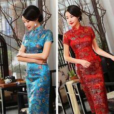 Chinese Vintage Brocade Satin Cheongsam Qipao Women Long Evening Dress Luxury