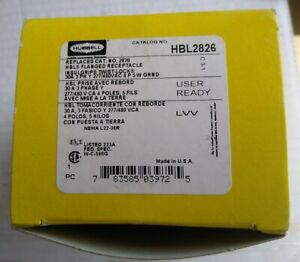 HUBBELL HBL2826 Twist Lock Flanged 30A 480V Receptacle - New
