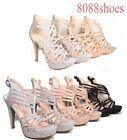 Women's Glitter Birdal Strappy High Heel Platform Evening Pump Shoes Size 5 - 10