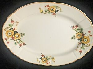 "Vintage K. T. & K. ivory china Serving Plate 11"" across Gold Trim and Flowers"