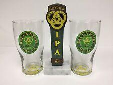 "Ballantine IPA India Pale Tap Handle 7"" & Tulip Pint Glasses Set of Two (2) NEW"