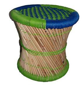 Handmade Handicraft Office Stool Pouf Patio Made Bamboo Stick & Rope Multicolor