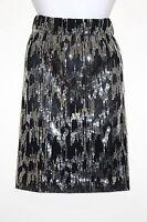 New Womens Calvin Klein Black & Silver Sequin A Line Skirt Small Knee Length NWT