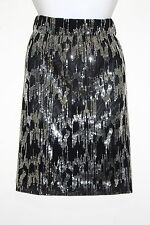 Womens Calvin Klein Black & Silver Sequin A Line Skirt Small Knee Length