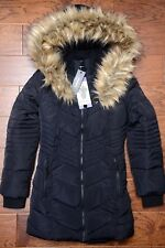 NWT Diesel Kids Girl's Faux Fur Black Insulated Parka Coat Jacket Size 8