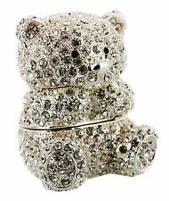 TEDDY BEAR TRINKET BOX, Juliana Treasured Trinkets Crystal Diamante studded Bear