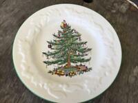 Spode Christmas Tree Embossed Rim Plate Made England Ships FREE