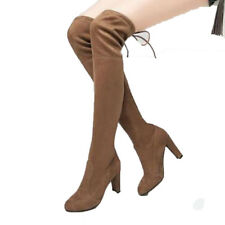 UK LADIES OVER THE KNEE HIGH FLAT WINTER FAUX SUEDE THIGH WOMEN BOOTS SHOES SIZE