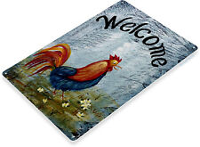 TIN SIGN Welcome Rooster Beach House Cottage Farm Home Mat Art Kitchen B058