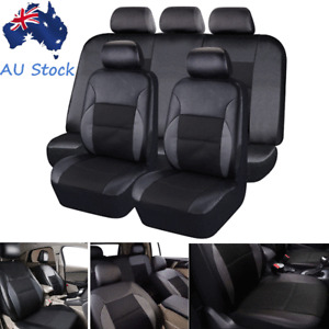 Full Set PVC Leather Car Front & Rear Seat Covers Cushions Protector Pads Black