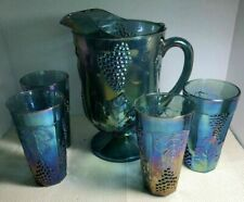 Indiana blue  carnival glass pitcher and glasses