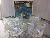 Vtg Arcoroc Diamant 7pc Salad Bowl Serving Set Tempered Clear Glass France