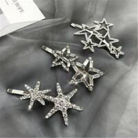 Cute Star Crystal Hair Clip Cute Barrette Stick Hairpin Women Hair Accessories