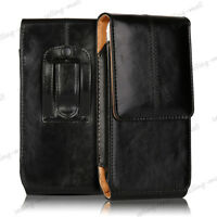 Vertical Leather Belt Clip Loop Case Holster Waist Pouch Cover For Apple Samsung