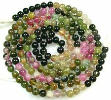 """ALL NATURAL MULTI TOURMALINE SMOOTH ROUND BEADS 14.5"""" 5mm  T18"""