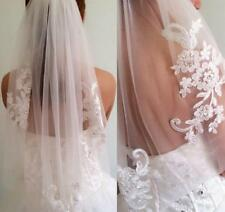 1T Elbow Lace Applique Wedding Veil With Comb Bridal Veils Ivory White Handwork