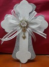 10 First Communion-Baptism Cross glitter Foam for Center Piece silv-white-Bautiz