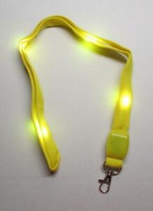 LED Blinking Light Up YELLOW LANYARD KEY CHAIN Ring Keychain ID Holder NEW