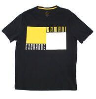 Armani Exchange Mens T-Shirt Black Size 2XL Box Logo Graphic Crewneck $50- 142