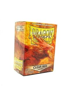Dragon Shield Sleeves Matte CLEAR RED 100 ct Standard  For Pokémon / Magic Cards