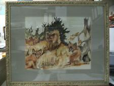 "ANTIQUE WATERCOLOR PAINTING ""HUNTING FOX"" WOOD FRAME SIGNED "" F. MARGOT "" 21.3"""