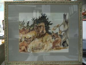 """ANTIQUE WATERCOLOR PAINTING """"HUNTING FOX"""" WOOD FRAME SIGNED """" F. MARGOT """" 21.3"""""""