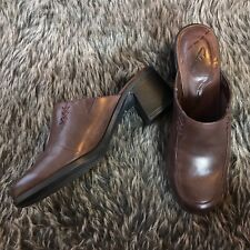 Clark's Women's Size 7 Brown Leather Mules Slip On Shoes Comfort Heels 020
