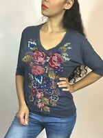 JOHNNY WAS Women's Gray Embroidered Floral Top Size S