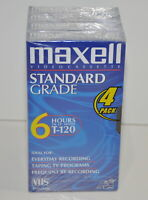 Maxell Standard Grade T-120 6 hour Blank VHS Video Cassette Tapes 4 pack New
